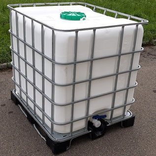 NCG-Mauser IBC Regenwassersammler WEISS 1000 Liter mit grossem Deckel exFood auf Metall-PE-Palette #5GMPE-exFood-REGEN-USER