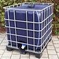 Regenwassertank 1000-Liter INDIGO auf Kunststoffpalette mit Sichtschutz #4IVP