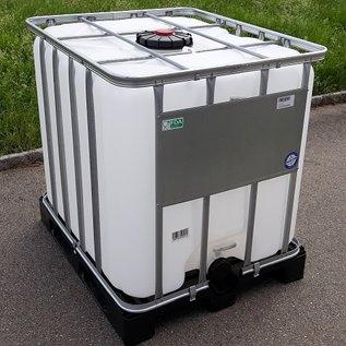 Werit IBC Regenwassertank 1000 Liter exFood mit 225'er Deckel und 3-Zoll auf Kunststoff-Palette #2VP16W-DTOP-exFood-REGEN-USER