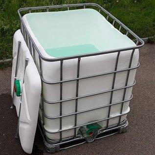 Schütz IBC Regenwassertonne eckig weiss 1000 Liter offen mit Deckel auf Stahl-Palette #5ODM-exFood-REGEN-USER