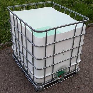 Schütz IBC Regenwassertonne eckig weiss 1000 Liter exFood offen auf verzinkter Stahl-Palette #5OM-exFood-REGEN-USER
