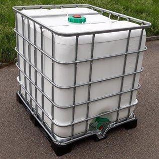 Schütz IBC Regentonne weiss 1000 Liter offen mit Deckel exFood auf Metall-Kunststoff #5ODMVP-exFood-REGEN-USER