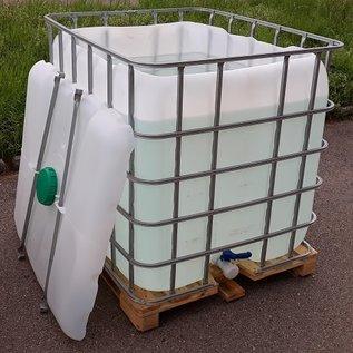 Regenwassertonne offen mit Deckel 1000 Liter auf Holz-Palette #2ODH-ExFood-REGEN-USER