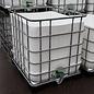 Schütz IBC Regenwassertonne weiss eckig 1000 Liter exFood offen auf verzinkter Stahl-Kunststoff-Palette #5OMVP-exFood-REGEN-USER