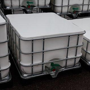 Schütz IBC Regenwassertonne eckig 650 Liter exFood offen auf verzinkter Stahl-Kunststoff-Palette #5OMVP650-exFood-REGEN-USER