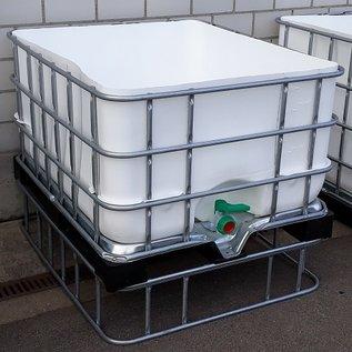 Schütz IBC Hochbeet eckig 650 Liter exFood offen auf verzinkter Stahl-Kunststoff-Palette 25 cm erhöht #5HB-MVP650&25-exFood-REGEN-USER