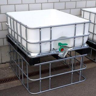 Schütz IBC Hochbeet eckig 400 Liter exFood offen auf verzinkter Stahl-Kunststoff-Palette 47 cm erhöht #5HB-MVP400&47-exFood-REGEN-USER