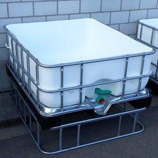 Schütz IBC Hochbeet eckig 400 Liter exFood offen auf verzinkter Stahl-Kunststoff-Palette 25 cm erhöht #5HB-MVP400&25-exFood-REGEN-USER