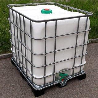 Schütz IBC Regenwasserspeicher bepflanzbar WEISS 1000 Liter und 220 Liter Pflanzschale exFood auf Metall-Kunststoff-Palette mit Sichtschutz #5MVP1220-exFood-REGEN-USER