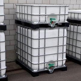 Schütz IBC Regentonne bepflanzen WEISS 1000l & 400l exFood auf Metall-VP-Palette