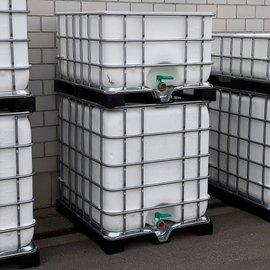 Schütz IBC Regentonne bepflanzbar WEISS 1000l & 650l exFood auf Metall-VP-Palette