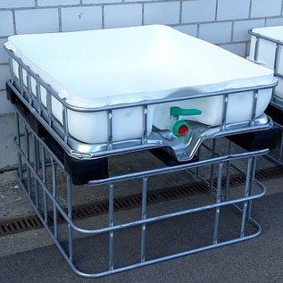 Schütz IBC Regenwasserspeicher bepflanzbar 1000 Liter und 220 Liter Pflanzschale 47 cm erhöht exFood WEISS (Sichtschutz) auf MVP-Palette #5MVP1220&47-exFood-REGEN-USER