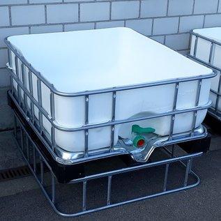 HESS DESIGN Regentonne zum bepflanzen 1000 Liter und 400 Liter 25 cm erhöht WEISS (Sichtschutz) exFood auf MVP-Palette #5MVP1400&25-exFood-REGEN-USER