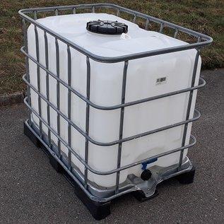 IBC Regenwassertank 600 Liter mit grossem Deckel auf Stahl-Kunststoff-Palette #8GMVP-ExFood-REGEN-USER