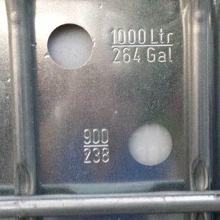 Schütz IBC IBC Tank 1000 Liter mit neuer Blase mit verzinkter Stahlblech-Verkleidung auf Metallpalette #3MR-ersetzt-REGEN-USER