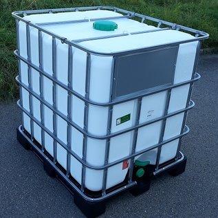 Greif IBC IBC Container NEU 1000 Liter WEISS mit SICHTSCHUTZ für FOOD auf Kunststoff-Palette #65VP-GC-NEU-REGEN-USER