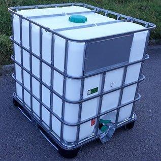 Greif IBC IBC Container NEU 1000 Liter WEISS mit SICHTSCHUTZ für FOOD auf Hybrid-Palette #65MPE-GC-NEU-REGEN-USER