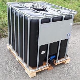 Werit IBC IBC Tank 1000 Liter Trinkwasser NEU (mit neuer Blase) SCHWARZ mit SCHUTZ GEGEN ALGEN auf Holzpalette #I64H-WG-TOP-REGEN-USER
