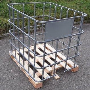 IBC Gitterbox Holzgitterbox breit weitmaschig für Brennholz Lagerung auf Holzpalette #1HB-REGEN-USER