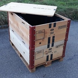 HESS DESIGN Holzfass offen mit Deckel 600l / 640l  IBC NEU SCHWARZ Trinkwasser auf Holz