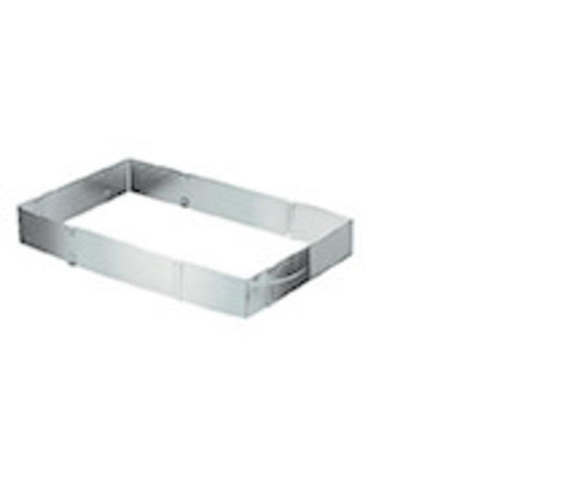 Bakvorm | RVS | 19 cm x 28 cm x H 5 cm | Rechthoekig | Verstelbaar naar 34 cm x 54 cm