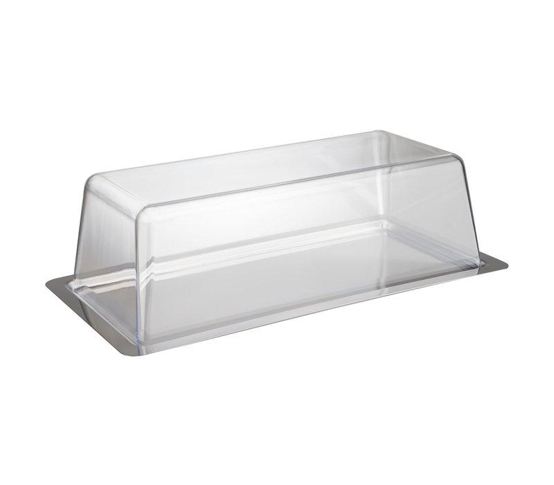 Cake serveerschaal/Vershoudbox | RVS PS | 34 cm x 16.5 cm x H 10 cm | Met luchtdichte deksel