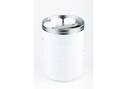 APS-Germany Flessenkoeler | ABS RVS | Met opener en bakje | Ø 23 cm x H 15 cm | Wit