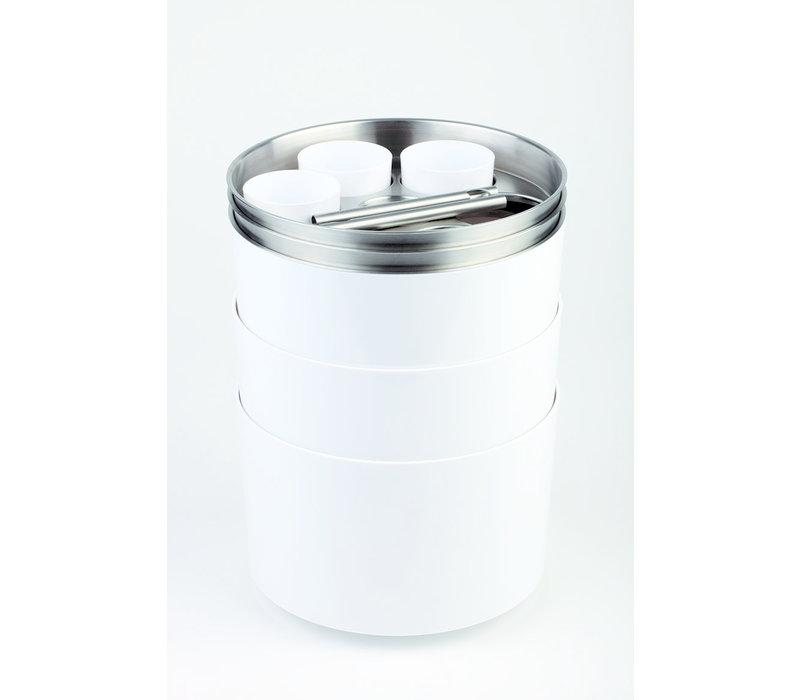 Flessenkoeler   ABS RVS   Met opener en bakje   Ø 23 cm x H 15 cm   Wit