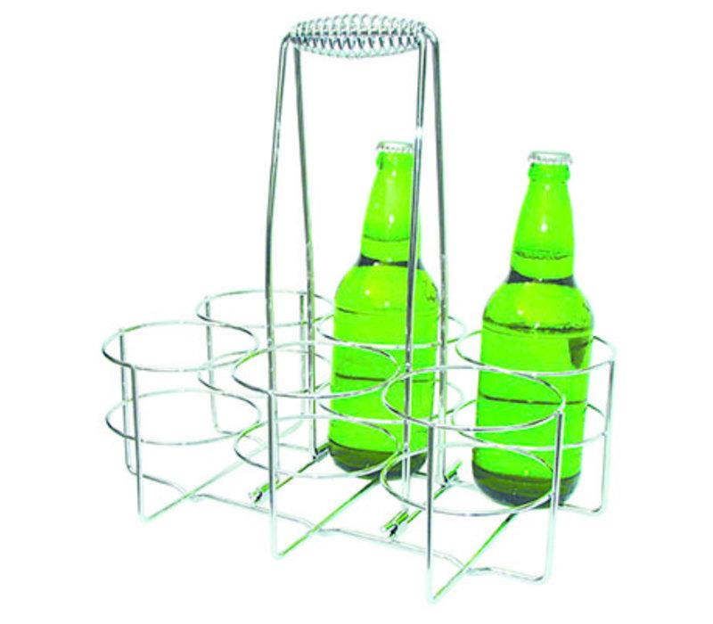 Flessendrager   Metaal   Verchroomd   32 cm x 21.5 cm x H 32.5 cm   Voor 6 flessen max. Ø 9.5 cm