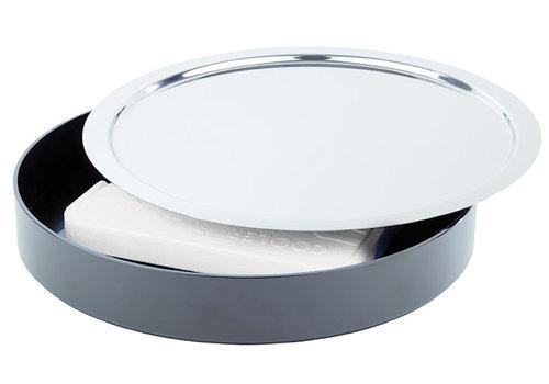 "APS-Germany Buffet set ""Pure"" | Melamine |  RVS SAN | Ø 38 cm x H 6 cm | 3-delig | Zwart"