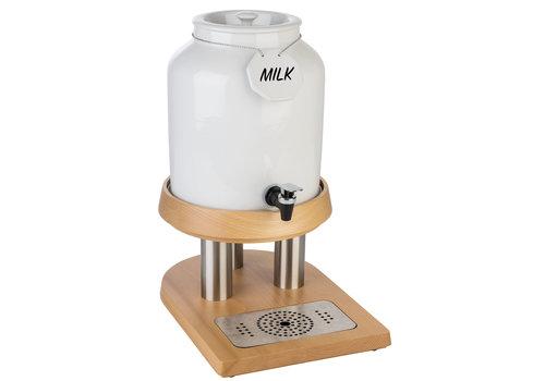 "APS-Germany Melkdispenser ""Top Fresh""   RVS Porselein Beukenhout   27 cm x 38.5 cm x H 45 cm   8 liter   1 koelelement"