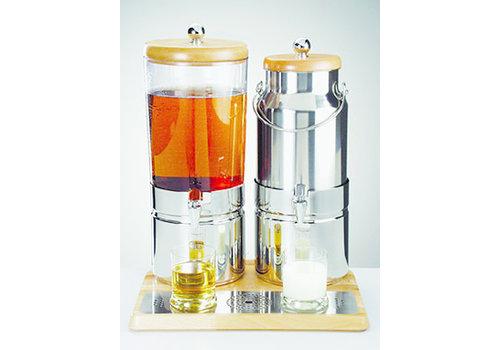 "APS-Germany Sap- en melkdispenser Duo ""Top Fresh Wood""   RVS Beukenhout SAN   42 cm x 35 cm x H 52 cm   6 en 5 liter   3 koelelementen"