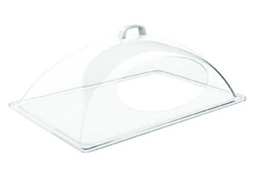 APS-Germany GN Deksel | GN 1/2 | SAN ABS | 54 cm x 33 cm x  H 20 cm | Opening lange zijde | Verchroomd