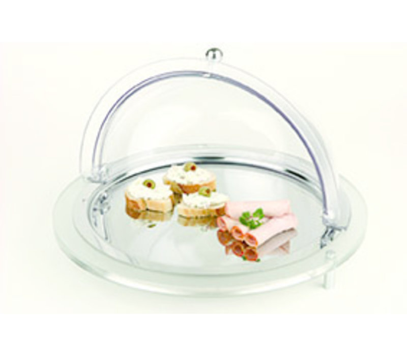 "Gekoelde buffetvitrine ""Top Fresh"" | Acryl RVS Polycarbonaat | Ø43.5 cm x H 8 cm | 2 koelelementen | 4-delig"