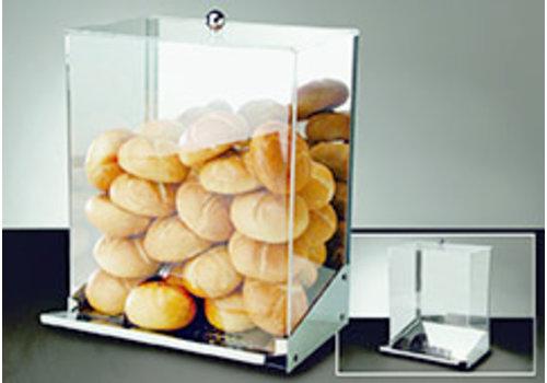 "APS-Germany Broodjesdispenser ""Inox"" | RVS Acryl | 32.5 cm x 27.5 cm x H 42 cm | Voor 45-50 broodjes | Broodkruimel la"
