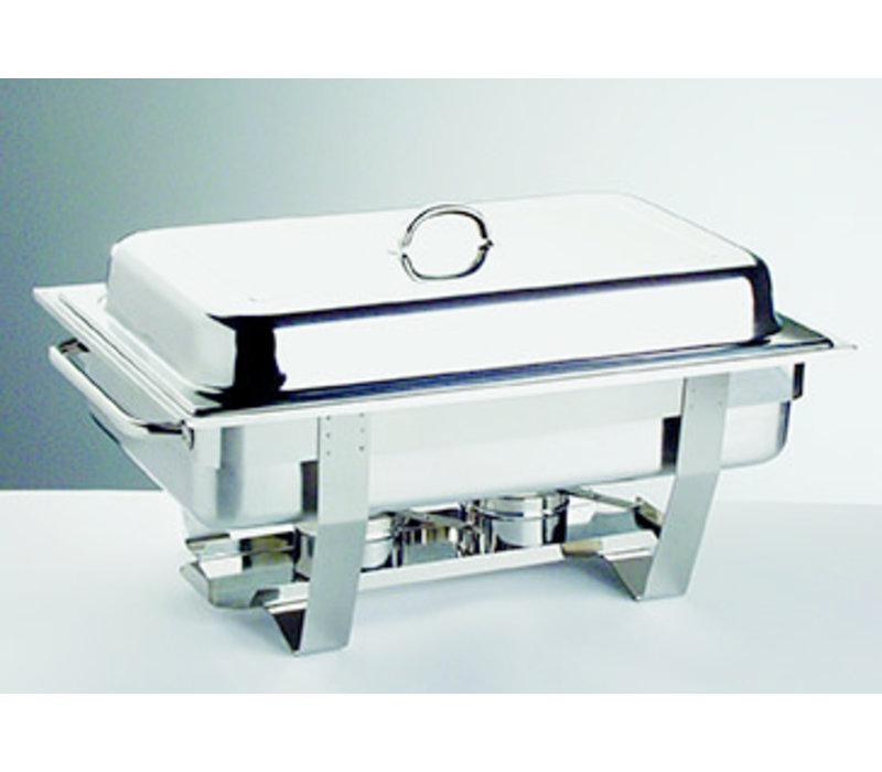 """Chafing Dish """"Chef""""   1/1 GN   RVS   61 cm x 31 cm x H 30 cm   9 liter   65 mm diep   2 brandpastahouders"""