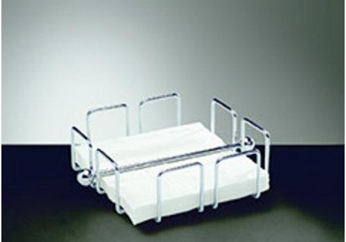 """APS-Germany Servettenhouder """"Wire""""   Metaal   19 cm x 19 xm x H 6.5 cm   Voor 50 servetten   Verchroomd"""