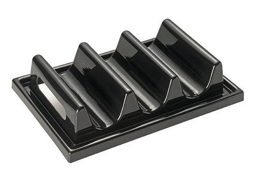 APS-Germany Snackpresenter   Polystyrol   29 cm x19 cm x H 6.5 cm   Voor 3 belegde broodjes   Zwart