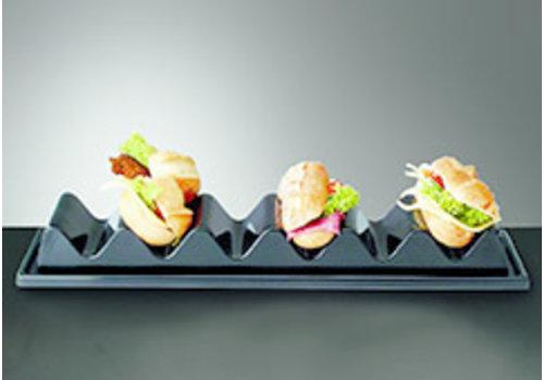 APS-Germany Snackpresenter | Polystyrol | 60 cm x19 cm x H 6.5 cm | Voor 6 belegde broodjes | Zwart
