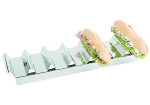 APS-Germany Snackpresenter   RVS   47.5 cm x 10. 5 cm x H 6 cm   Voor 7 belegde broodjes