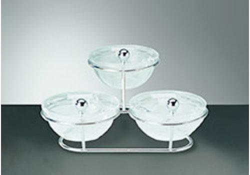 "APS-Germany Buffetstandaard ""Little"" | Glas Acryl Metaal | 30 cm x 30 cm x 14 cm | 3 glazen schalen Ø 14 cm 0.50 liter | 7-delig"