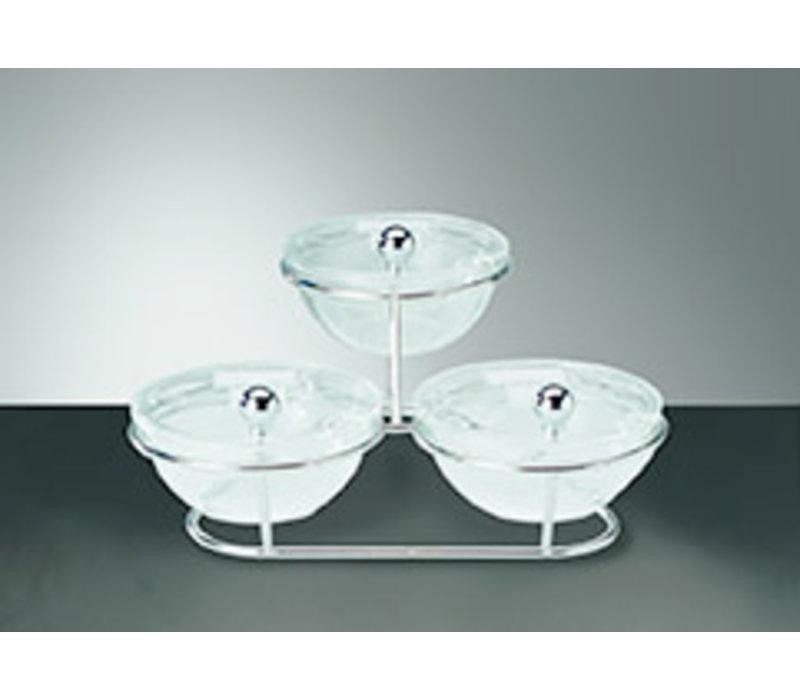 "Buffetstandaard ""Little""   Glas Acryl Metaal   30 cm x 30 cm x 14 cm   3 glazen schalen Ø 14 cm 0.50 liter   7-delig"
