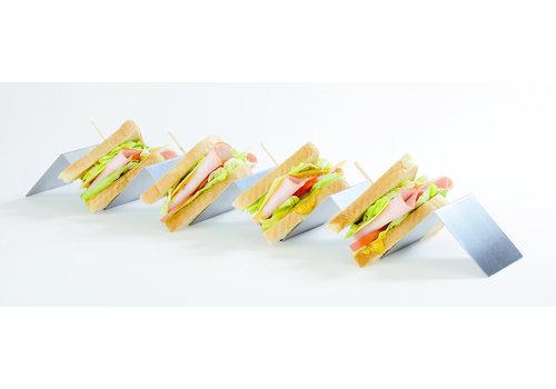 APS-Germany Snackpresenter   RVS   56 cm x 8 cm x H 5.5 cm   Voor 4 belegde broodjes