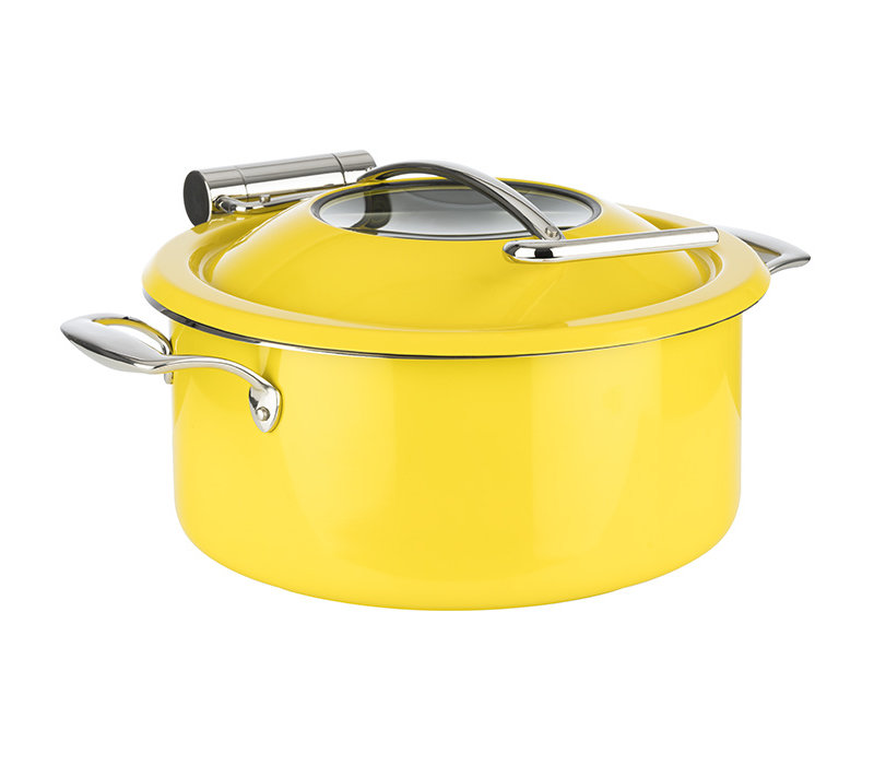 Chafing Dish Inductie set | Pan Bewaarpan Deksel Inductieproof Pan | Ø 30.5 cm x H 17.5 cm | 4 liter | 4-delig | Geel