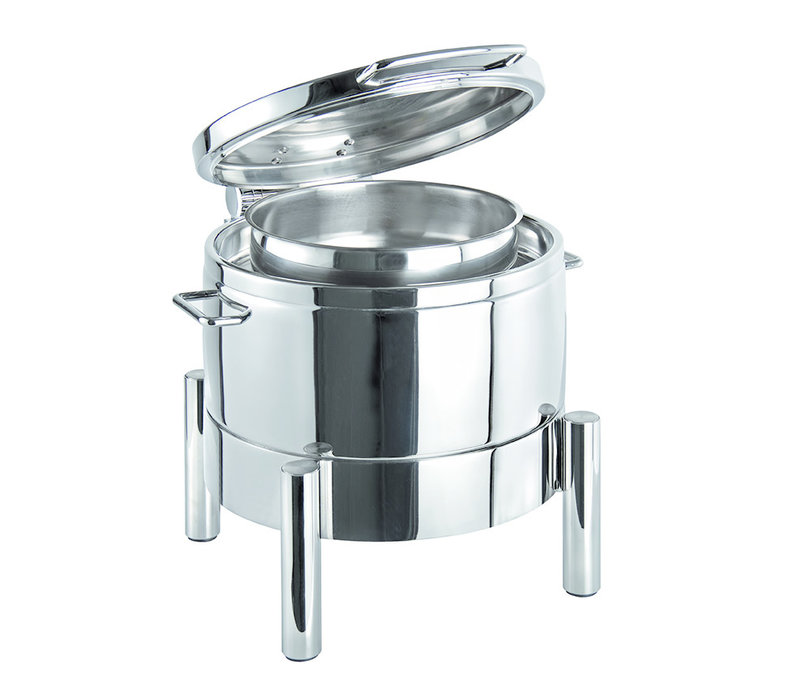 "Chafing Dish ""Premium"" | RVS | 44 cm x 48 cm x H 39 cm | Ronde foodpan | RVS deksel | 10 liter"