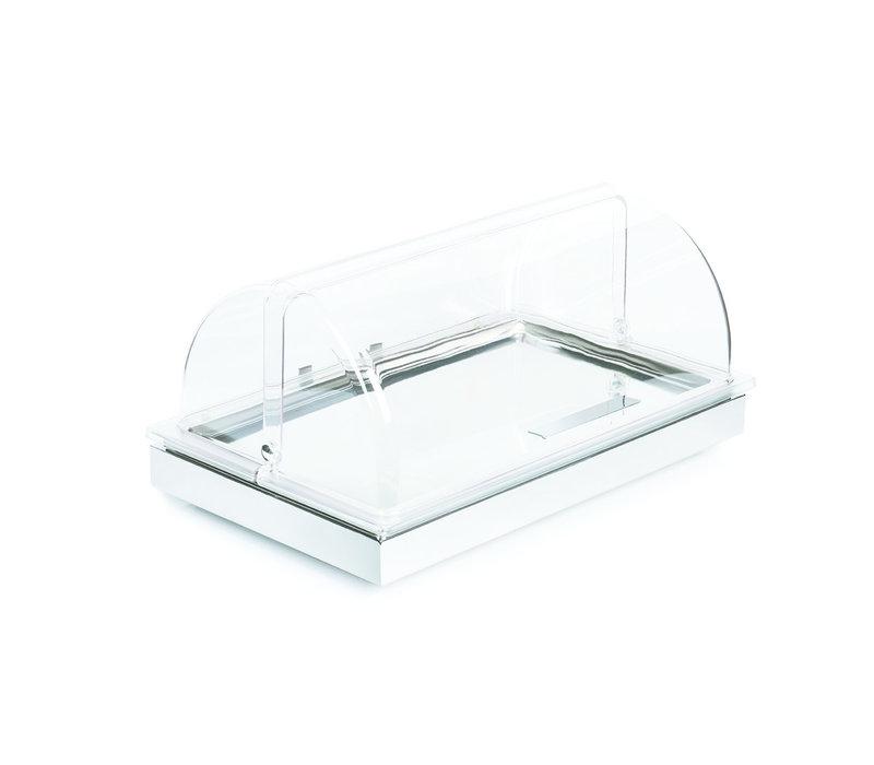 "Buffetset 2 ""Frames""   1/1 GN   RVS   53 cm x 32.5 cm x H 27.5 cm   Basiselement RVS Schaal Rolltop deksel 1 koelelement   Wit"