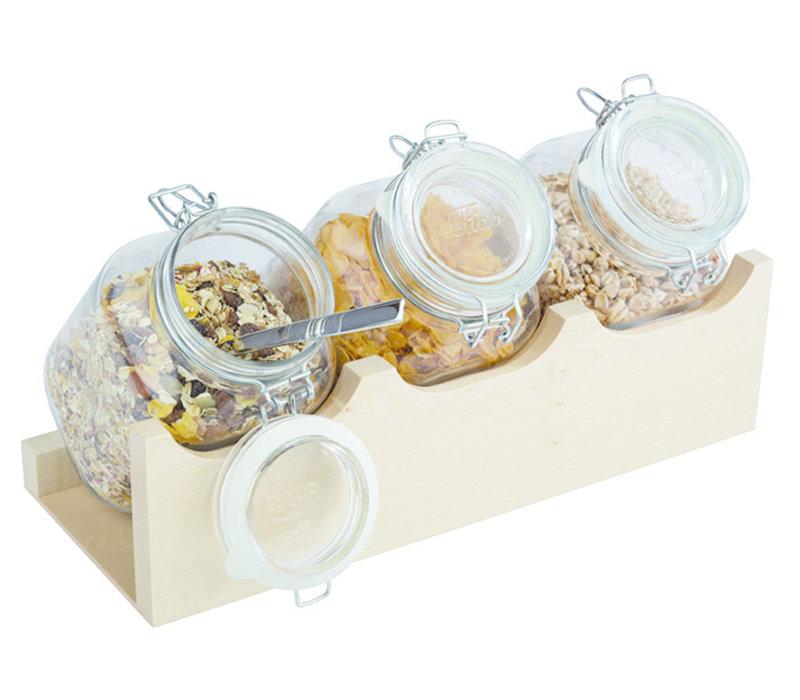 "Buffetstandaardset  ""Good Morning"" | Hout Glas | 43 cm x 17 cm x H 13.5 cm | Standaard met drie 2 liter voorradpotten 82328 | 4-delig | Ahorn"