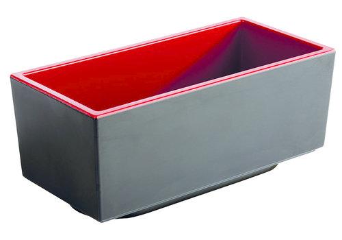 "APS-Germany Bento Box schaal ""Asia Plus""   Melamine   15.5 cm x 7.5 cm x H 6.5 cm   0.40 liter   Zwart/Rood"