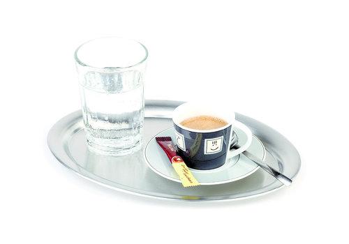 """APS-Germany Koffieserveerblad """"Kaffeehaus""""   RVS   19 cm x 15 cm x H 1 cm   Ovaal   Mat"""