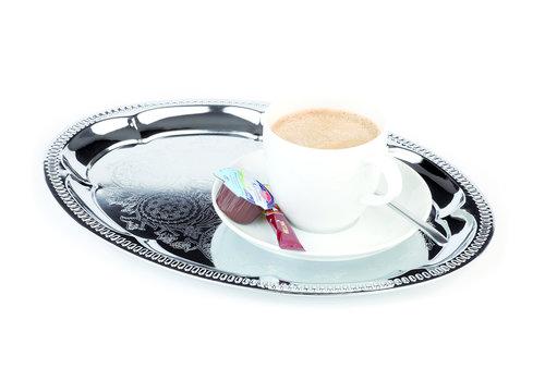 "APS-Germany Koffieserveerblad ""Kaffeehaus""   30 cm x 22 cm   Ovaal   Opstaande decoratieve rand   Verchroomd"